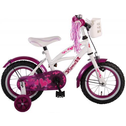 Volare Heart Cruiser Children's Bicycle - Girls - 12 inch - White Purple