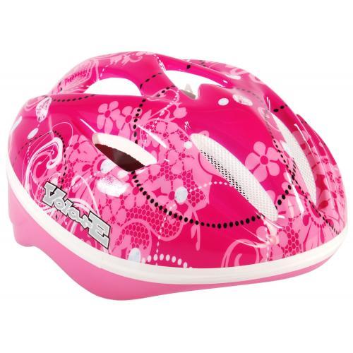 Volare kids bicycle helmet Deluxe - pink flowers - 51-55 cm