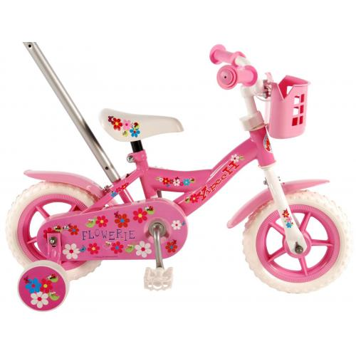 Volare Flowerie Children's Bicycle - Girls - 10 inch - Pink / White