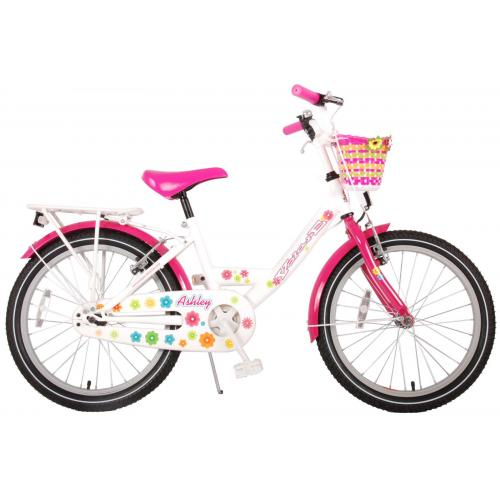 Volare Ashley Children's Bicycle - Girls - 20 inch - White / Pink - two hand brakes