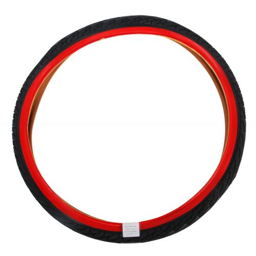Bicycle tire 24 inch black red