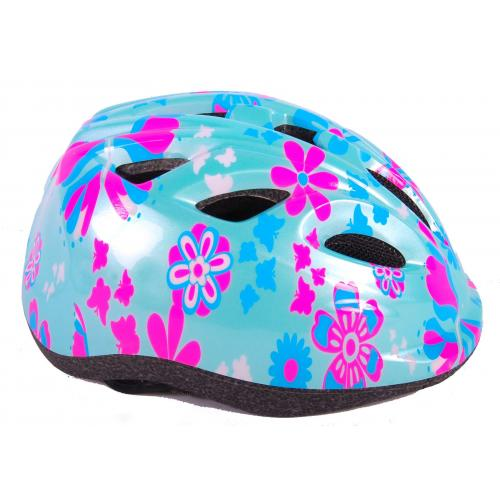 Volare kids bike helmet green pink flowers XS 47-51 cm extra small