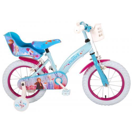 Disney Frozen 2 Children's Bicycle - Girls - 14 inch - Blue / Purple - 2 Hand brakes