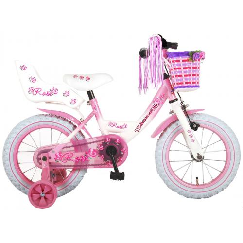 Volare Rose Children's Bicycle - Girls - 14 inch - Pink White - 95% assembled