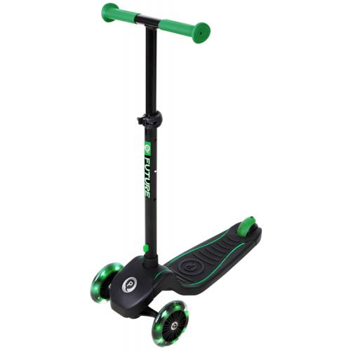 QPlay Future Scooter - Boys and Girls - Black with Green - Led Lighting
