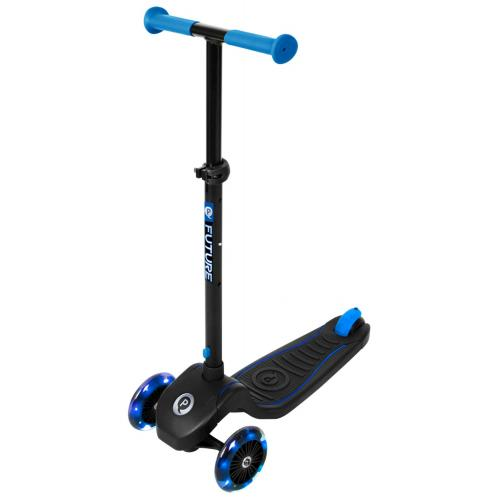QPlay Future Scooter - Boys and Girls - Black with Blue - Led Lighting