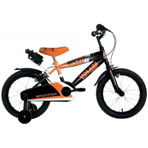 Volare Sportivo Children's Bicycle - Boys - 14 inch - Neon Orange Black - Two handbrakes