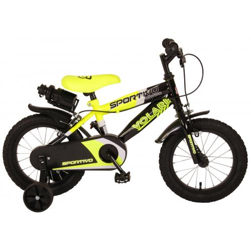 Volare Sportivo Children's Bicycle - Boys - 14 inch - Neon Yellow Black - Two handbrakes - 95% assembled