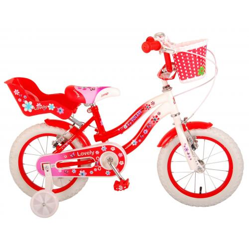 Volare Lovely Children's Bicycle - Girls - 14 inch - Red White - Two handbrakes - 95% assembled