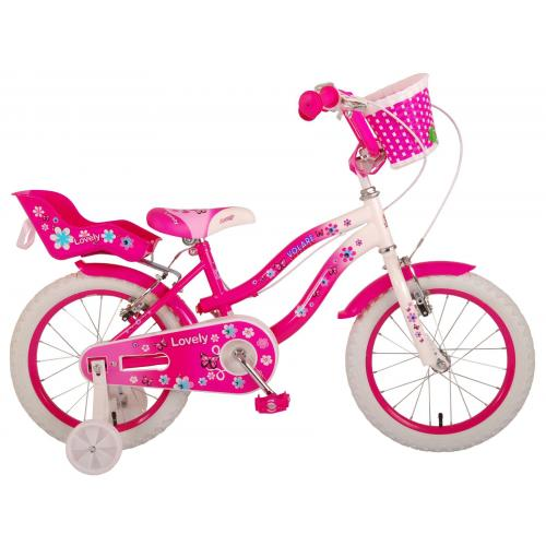 Volare Lovely Children's Bicycle - Girls - 16 inch - Pink White - Two handbrakes - 95% assembled
