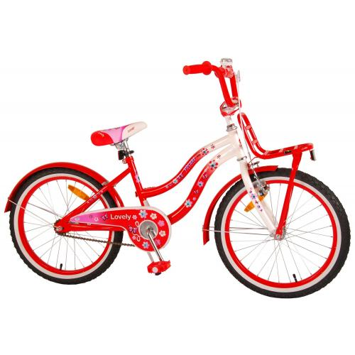 Volare Lovely Children's Bicycle - Girls - 20 inch - Red White - 95% assembled
