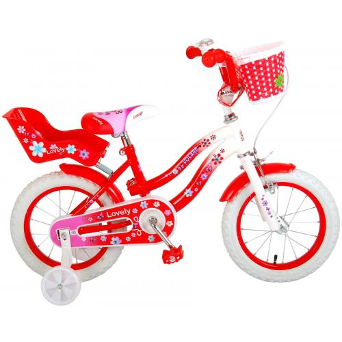 Volare Lovely Children's Bicycle - Girls - 14 inch - Red White - 95% assembled