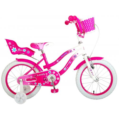 Volare Lovely Children's Bicycle - Girls - 16 inch - Pink White - 95% assembled
