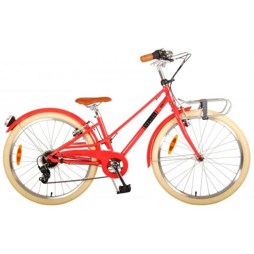 Volare Melody Children's bicycle - Girls - 24 inch - Pastel Red - 6 speed - Prime Collection