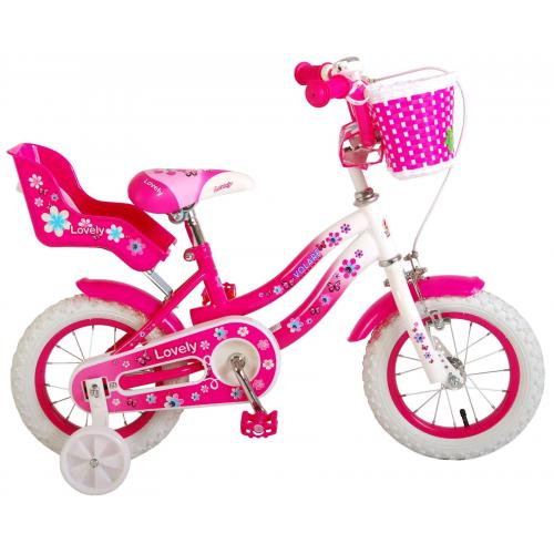 Volare Lovely Children's Bicycle - Girls - 12 inch - Pink White - 95% assembled