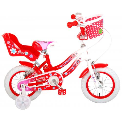 Volare Lovely Children's Bicycle - Girls - 12 inch - Red White - Two handbrakes - 95% assembled