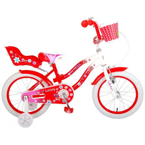 Volare Lovely Children's Bicycle - Girls - 16 inch - Red White - 95% assembled