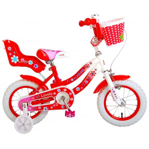 Volare Lovely Children's Bicycle - Girls - 12 inch - Red White - 95% assembled