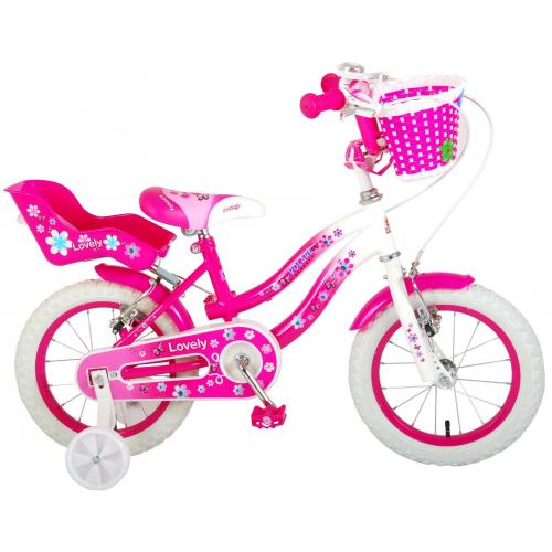 Volare Lovely Children's Bicycle - Girls - 14 inch - Pink White - Two handbrakes - 95% assembled