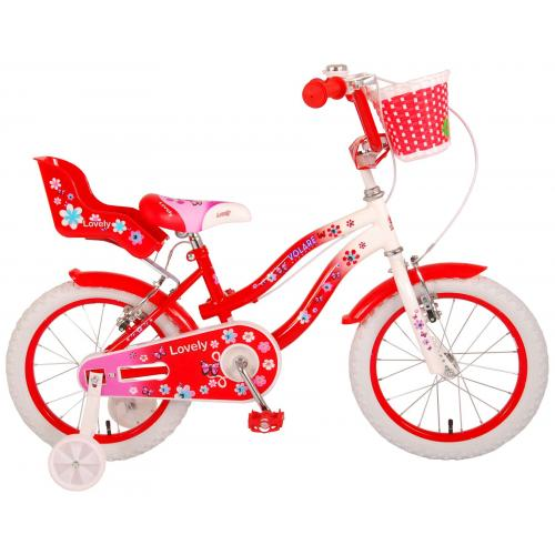 Volare Lovely Children's Bicycle - Girls - 16 inch - Red White - Two handbrakes - 95% assembled