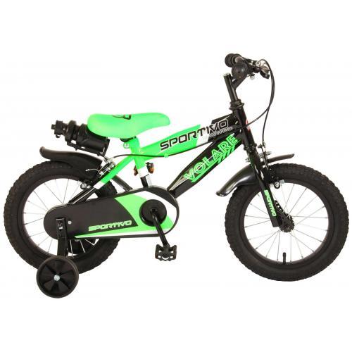Volare Sportivo Children's Bicycle - Boys - 14 inch - Neon Green Black - Two handbrakes - 95% assembled