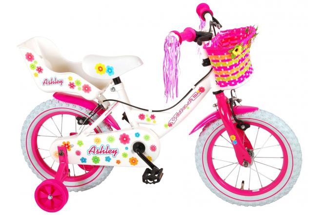 Volare Ashley Children's Bicycle - Girls - 14 inch - White - with 2 hand brakes