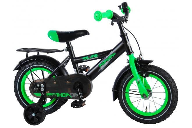 Volare Thombike Satin Black Green 12 inch Boys Bicycle 95% assembled