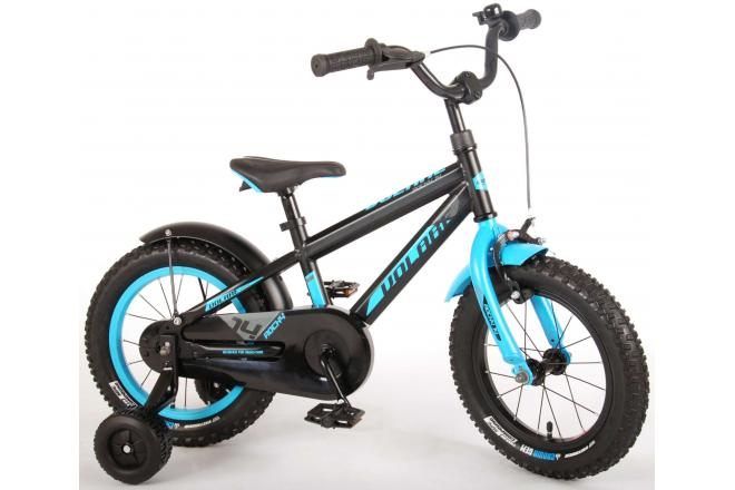 Volare Rocky Children's Bicycle - Boys - 14 inch - Black/Blue- 95% assembled - Prime Collection
