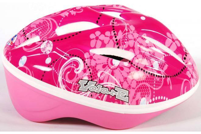 Volare kids bicycle helmet - skate helmet Deluxe pink flowers 51-55 cm